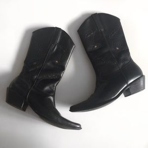 Matisse Black Leather Cowboy Floral Cutout Boots